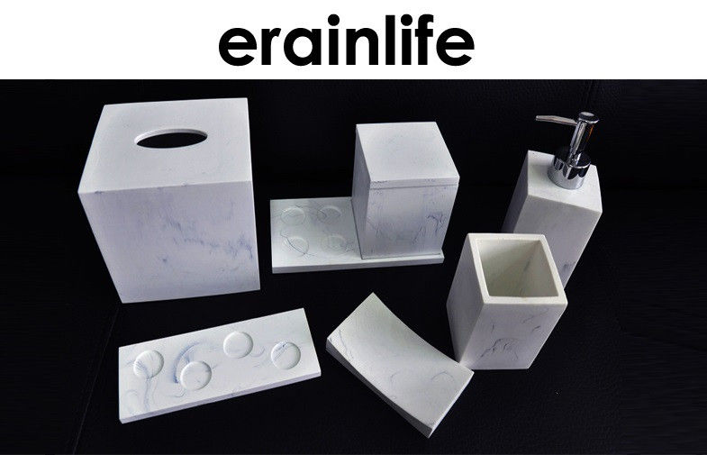 Hotel Bathroom Accessory Set Polyresin Material Marble Effect Finish White Color